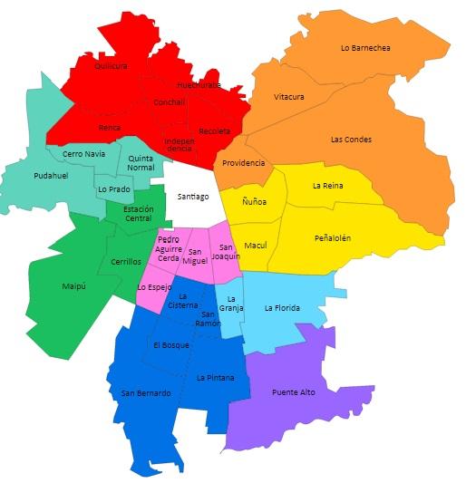 Comunas de la provincia delegaci n provincial de santiago for Calles de santiago de chile